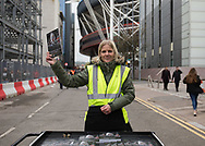 A programme seller outside of the stadium<br /> <br /> Photographer Simon King/Replay Images<br /> <br /> Guinness PRO14 Round 21 - Dragons v Scarlets - Saturday 28th April 2018 - Principality Stadium - Cardiff<br /> <br /> World Copyright © Replay Images . All rights reserved. info@replayimages.co.uk - http://replayimages.co.uk