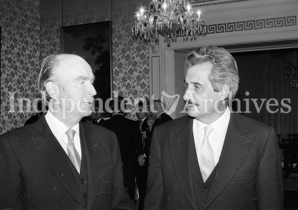 President Patrick Hillery greeting the Ambassador of the Republic of Cyprus His Excellency Mr Angelos Angelides at Aras an Uachtarain, circa October 1985 (Part of the Independent Newspapers Ireland/NLI Collection).
