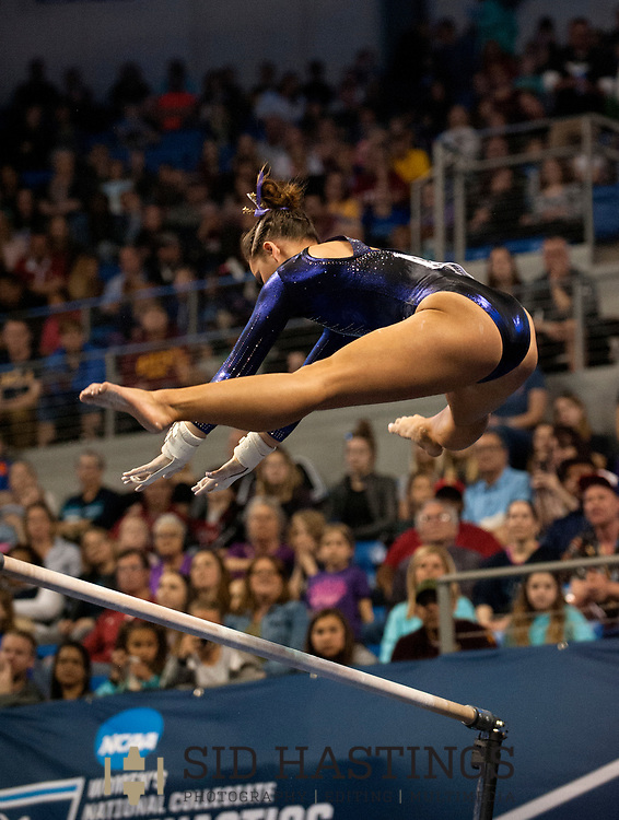 21 APRIL 2018 -- ST. LOUIS -- LSU gymnast Sarah Finnegan competes on the Uneven Parallel Bars during the 2018 NCAA Women's Gymnastics Championship Super Six at Chaifetz Arena in St. Louis Saturday, April 21, 2018.<br /> Photo &copy; copyright 2018 Sid Hastings.