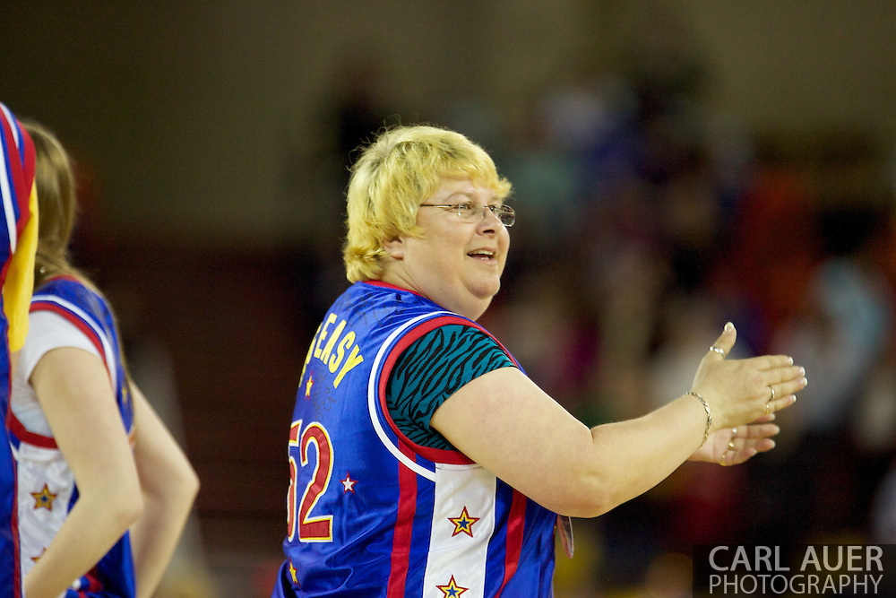 April 30th, 2010 - Anchorage, Alaska:  Honorary Globetrotter Margie Dye dances to YMCA during a time out Friday night at the Sullivan Arena.