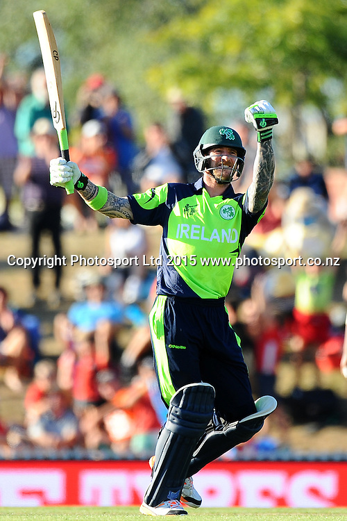 John Mooney celebrates after winning their 2015 ICC Cricket World Cup match between West Indies and Ireland. Saxton Oval, Nelson, New Zealand. Monday 16 February 2015. Copyright Photo: Chris Symes / www.photosport.co.nz