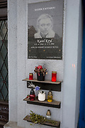 A memorial to the Czech cultural hero Karel Kryl, on 18th March, 2018, in Prague, the Czech Republic. Karel Kryl was an iconic Czechoslovak (Moravian born and Czech speaking) poet, singer-songwriter and performer of many hit protest songs in which he identified and attacked the hypocrisy, stupidity and inhumanity of the Communist and later also the post-communist regimes in his home country.