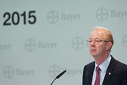 26.02.2015, Bayer-Kommunikationszentrum, Leverkusen, GER, Bilanzpressekonferenz Bayer AG, Ergebnisse des Geschäftsjahres 2014,  im Bild Dr. Martijn Dekkers (Vorsitzender des Vorstandes der Bayer AG) // during a Annual Press Conference Bayer AG at the Bayer-Kommunikationszentrum in Leverkusen, Germany on 2015/02/26. EXPA Pictures © 2015, PhotoCredit: EXPA/ Eibner-Pressefoto/ Schueler<br /> <br /> *****ATTENTION - OUT of GER*****