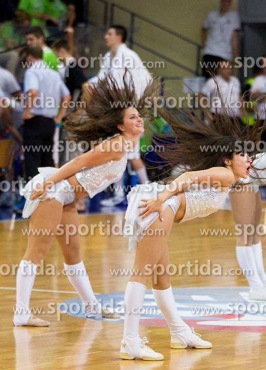 Cheerleaders Ladies perform during basketball match between National teams of Slovenia and Spain in Qualifying Round of U20 Men European Championship Slovenia 2012, on July 18, 2012 in Domzale, Slovenia. Slovenia defeated Spain 70-63. (Photo by Vid Ponikvar / Sportida.com)