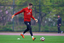 NANNING, CHINA - Saturday, March 24, 2018: Wales' goalkeeper Wayne Hennessey during a training session at the Guangxi Sports Centre ahead of the 2018 Gree China Cup International Football Championship final match against Uruguay. (Pic by David Rawcliffe/Propaganda)