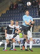 Declan Gallagher wins a header - Falkirk v Dundee, SPFL Championship at <br /> Falkirk Stadium<br />  - &copy; David Young - www.davidyoungphoto.co.uk - email: davidyoungphoto@gmail.com