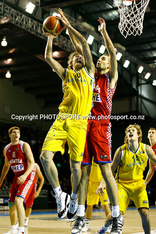Australia's Ryan Broekhoff goes up against Croatia's Mario Delas. U19 Basketball World Championship, 3rd and 4th place game, Australia v Croatia, North Shore Events Centre, Auckland. 12 July 2009. Photo: Anthony Au-Yeung/PHOTOSPORT