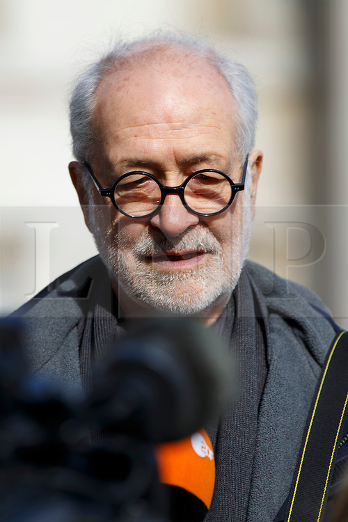 © Licensed to London News Pictures. 05/03/2015. LONDON, UK. Artist Hans Haacke is being interviewed after unveiling fourth plinth sculpture 'Gift Horse' in Trafalgar Square, London. Photo credit : Tolga Akmen/LNP