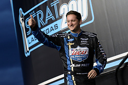 March 1, 2019 - Las Vegas, NV, U.S. - LAS VEGAS, NV - MARCH 01: Jordan Anderson (3) Chevrolet Silverado is introduced to the crowd before the start of the NASCAR Gander Outdoors Truck Series The Strat 200 on March 1, 2019, at Las Vegas Motor Speedway in Las Vegas, Nevada. (Photo by Michael Allio/Icon Sportswire) (Credit Image: © Michael Allio/Icon SMI via ZUMA Press)