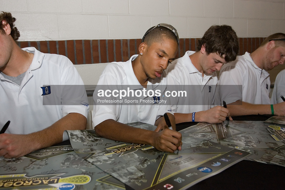 27 May 2007: Duke Blue Devils goalkeeper Devon Sherwood (1) signs autographs at M&T Bank Stadium in Baltimore, MD.