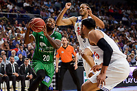 Real Madrid's Gustavo Ayon and Anthony Randolph and Unicaja Malaga's Oliver Lafayette during semi finals of playoff Liga Endesa match between Real Madrid and Unicaja Malaga at Wizink Center in Madrid, May 31, 2017. Spain.<br /> (ALTERPHOTOS/BorjaB.Hojas)