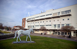 A general view of the Desert Orchid statue at Kempton Park Racecourse, Esher.
