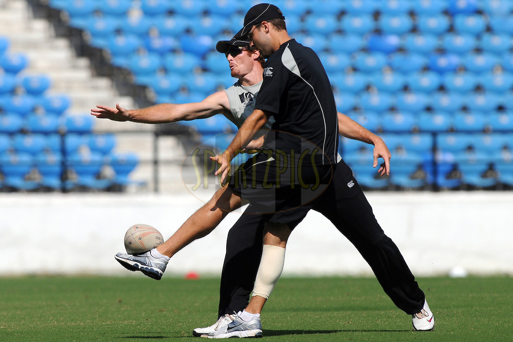 Daniel Vettori (captain) of New Zealand plays a game of Rugby during the nets sessions held at the Vidarbha Cricket Stadium in Nagpur on the 18th November 2010..Photo by Pal Pillai/BCCI/SPORTZPICS
