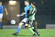 Joe Rafferty and Ruben Lameiras during the EFL Sky Bet League 1 match between Rochdale and Plymouth Argyle at Spotland, Rochdale, England on 24 April 2018. Picture by Daniel Youngs.