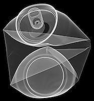 X-ray image of a flat aluminum can (white on black) by Jim Wehtje, specialist in x-ray art and design images.