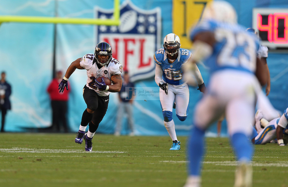Baltimore Ravens running back Ray Rice (27) catches a pass for 30 yards on fourth down in the fourth quarter against the San Diego Chargers during an NFL game on Sunday, November 25, 2012 in San Diego, CA.  (Photo by Jed Jacobsohn)