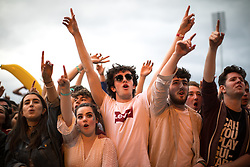 © Licensed to London News Pictures . 27/05/2017 . Manchester , UK . Fans inside the stadium . Manchester music line up , featuring Courteeners , Charlatans , Blossoms and Cabbage , at the Emirates Old Trafford Stadium . Photo credit : Joel Goodman/LNP