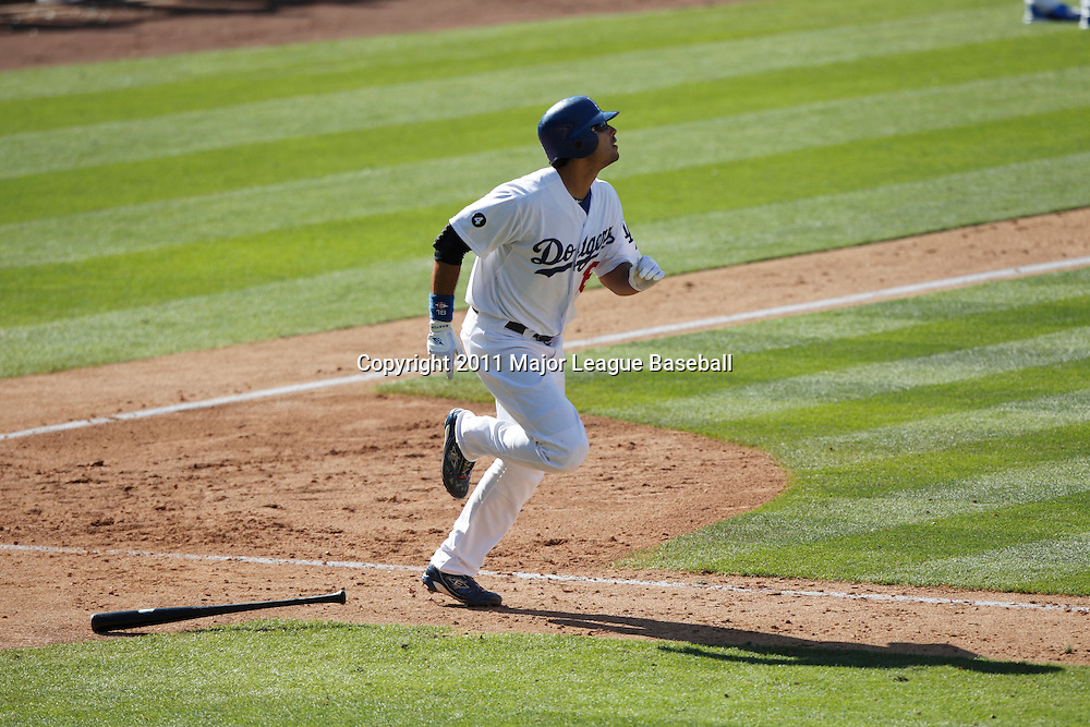 LOS ANGELES, CA - JULY 31:  Andre Ethier #16 of the Los Angeles Dodgers runs to first base during the game against the Arizona Diamondbacks on July 31, 2011 at Dodger Stadium in Los Angeles, California. The Diamondbacks won the game 6-3. (Photo by Paul Spinelli/MLB Photos via Getty Images) *** Local Caption *** Andre Ethier