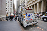 Police Truck on Wall Street in New York October 2008