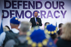 London, UK. 4 September, 2019. Lord Adonis addresses Remain supporters at a Defend Our Democracy rally in Parliament Square shortly after MPs passed the Brexit delay bill in the House of Commons.