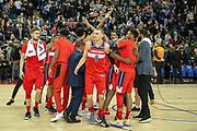 Washington Wizards celebrate beating the New York Knicks 101 -100 during the NBA London Game match between Washington Wizards and New York Knicks at the O2 Arena, London, United Kingdom on 17 January 2019.