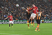 Manchester United player Wayne Rooney (10) heads towards goal  during the Premier League match between Hull City and Manchester United at the KCOM Stadium, Kingston upon Hull, England on 27 August 2016. Photo by Ian Lyall.