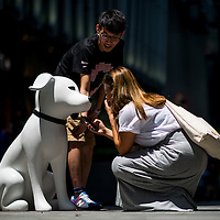 HMV's mascot Nipper is pictured during a street marketing campaign to promote the opening of new concept store HMVideal in Hong Kong's Central district on 25 July 2014. Photo by Victor Fraile / studioEAST