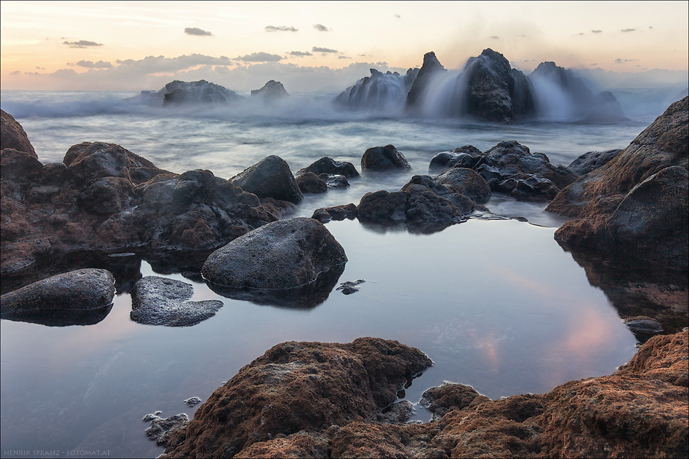 Lanzarote - west coast.<br /> I've waited some time for the wave crashing on the rocks in the background - but it was worth it.