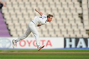 Steven Patterson of Yorkshire bowling during the Specsavers County Champ Div 1 match between Hampshire County Cricket Club and Yorkshire County Cricket Club at the Ageas Bowl, Southampton, United Kingdom on 1 September 2016. Photo by Graham Hunt.