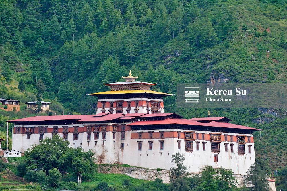 Paro Dzong in the mountain, Bhutan