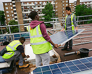 Solar panel installation on top of Fairview House on the Roupell Park Estate Transition Town eventTransition