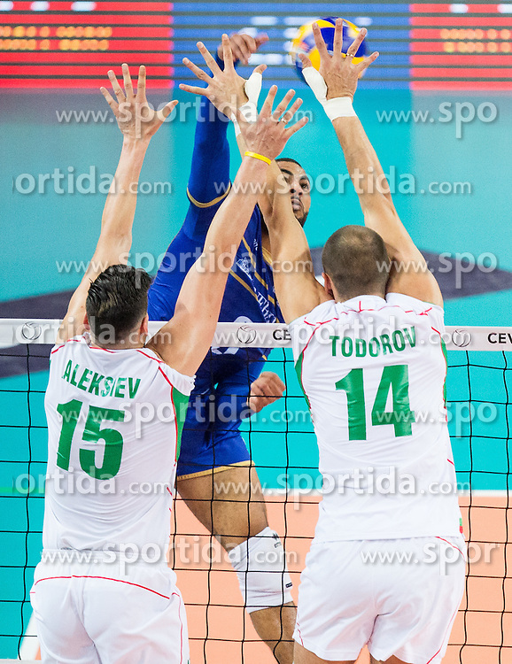 Earvin Ngapeth #9 of France vs Todor Aleksiev of Bulgaria and Teodor Todorov of Bulgaria during volleyball match between National teams of France and Bulgaria in 2nd Semifinal of 2015 CEV Volleyball European Championship - Men, on October 17, 2015 in Arena Armeec, Sofia, Bulgaria. Photo by Vid Ponikvar / Sportida