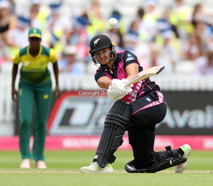 Suzie Bates bats during her century in the T20I between the White Ferns and South Africa Women at the County Ground, Taunton. Photo: Graham Morris/www.photosport.nz 20/06/18