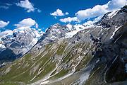 The Ortler Alps from The Stelvio Pass, Passo dello Stelvio, Stilfser Joch, in the Eastern Alps in Northern Italy
