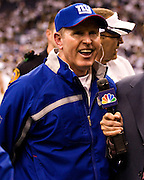 DALLAS, TX - JANUARY 13:   Head Coach Tom Coughlin of the New York Giants is all smiles after a game against the Dallas Cowboys during the NFC Divisional playoff at Texas Stadium on January 13, 2008 in Dallas, Texas.  The Giants defeated the Cowboys 21-17.  (Photo by Wesley Hitt/Getty Images) *** Local Caption *** Tom Coughlin