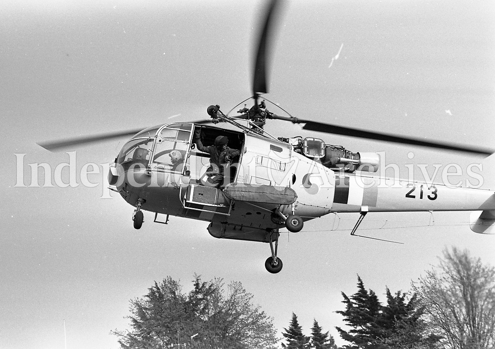 Helicopters at the RDS, Irish Air Corps Alouette III Helicopter Air Rescue demonstration at the RDS, Dublin, circa May 1983 (Part of the Independent Newspapers Ireland/NLI Collection).