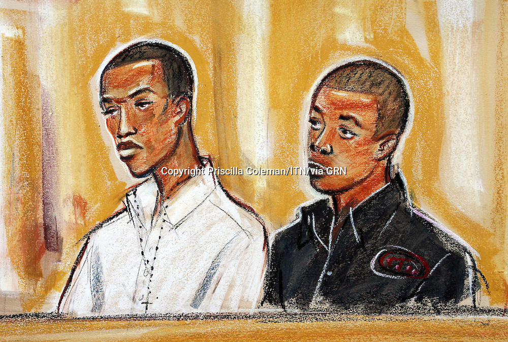 ©Priscilla Coleman ITV News.Supplied by: Photonews Service Ltd Old Bailey.Pic shows: Delano Brown (L), 18 and Donnel Carty (R), 18, who are on trial at the Old Bailey Central Criminal Court for the murder of Tom Ap Rhys Pryce, a promising young city lawyer who worked for Linklaters. See story..Illustration: Priscilla Coleman ITV News