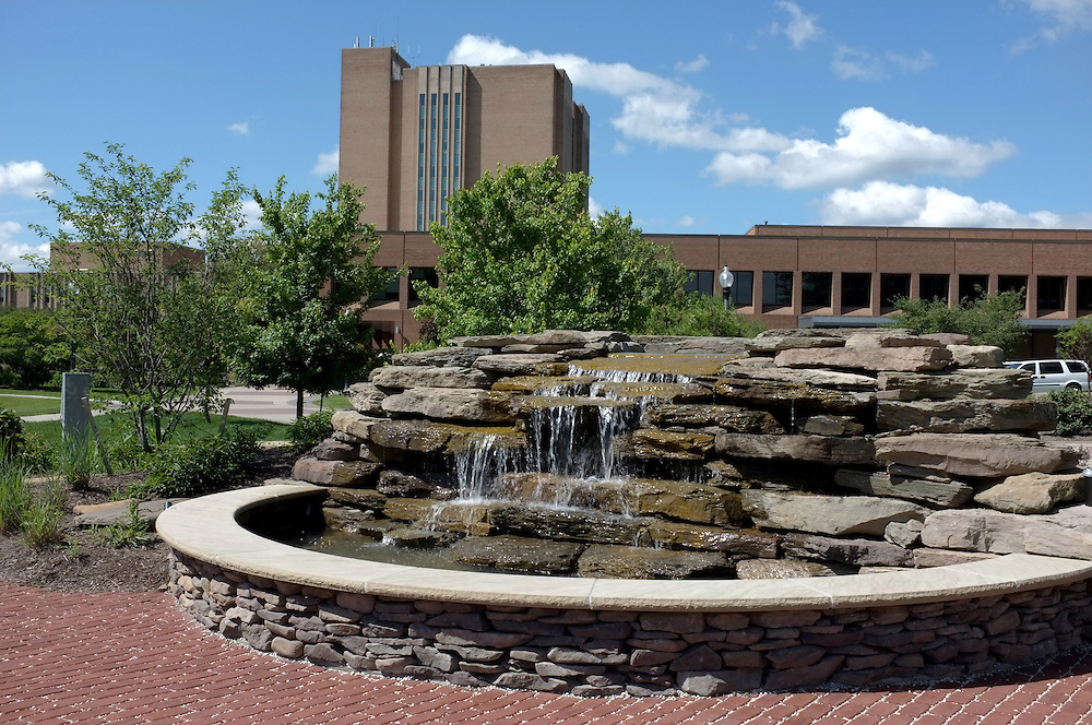 A view of the newly dedicated Student Memorial Garden, located behind the Kent Student Center. The garden is dedicated to students who have died while attending Kent State.