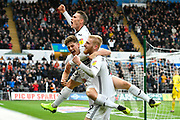 Goal -  Oli McBurnie (9) of Swansea City celebrates scoring a goal to give a 2-0 lead to the home team during the EFL Sky Bet Championship match between Swansea City and Reading at the Liberty Stadium, Swansea, Wales on 27 October 2018.