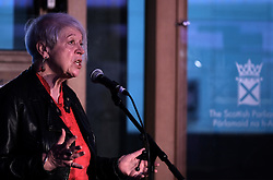 Pictured:  Poet and writer Liz Lochhead performs her hit show &ldquo;SOMETHINGS OLD, SOMETHINGS NEW&rdquo; at the Festival of Politics 2017 with musical backing from saxophonist Steve Kettley<br /> <br /> Alex Todd | EEm Saturday 19th October 2017