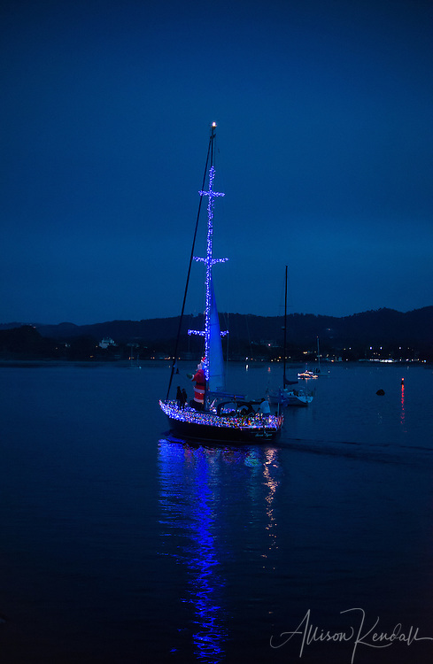 Scenes from the Monterey Lighted Boat Parade, celebrating the holiday season on the waters of Monterey bay and harbor