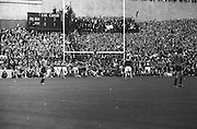 All Ireland Senior Football Championship Final, Kerry v Down, 22.09.1968, 09.22.1968, 22nd September 1968, Down 2-12 Kerry 1-13, Referee M Loftus (Mayo)..Down's second goal - Down foward J  Purdy (no  15) jubilant after scoring Down's second goal with Kerry backs on left and right and goalie J Colloty looking very disapointed,