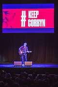 Robb Johnson performing at the #KeepCorbyn event, part of the #JC4PM tour a fringe event orgainised as part of the TUC 2016 by PCS. Brighton, UK.