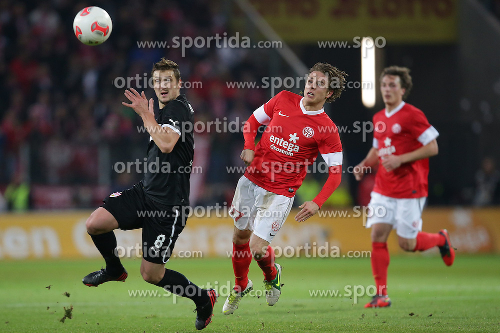 15.12.2012, Coface Arena, Mainz, GER, 1. FBL, 1. FSV Mainz 05 vs VfB Stuttgart, 17. Runde, im Bild Nicolai MUELLER - MULLER (FSV Mainz 05 - 27) - Zdravko KUZMANOVIC (VfB Stuttgart - 8) // during the German Bundesliga 17th round match between 1. FSV Mainz 05 and VfB Stuttgart at the Coface Arena, Mainz, Germany on 2012/12/15. EXPA Pictures © 2012, PhotoCredit: EXPA/ Eibner/ Gerry Schmit..***** ATTENTION - OUT OF GER *****