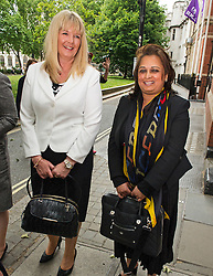 © Licensed to London News Pictures. 08/06/2015. London, UK. ALISON SHARLAND (left) and VARSHA GOHIL (right) leaving the supreme court together, where a Supreme Court justice heard the latest round of a multi-million pound divorce cases. . Photo credit: Ben Cawthra/LNP