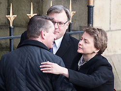 © Licensed to London News Pictures . 16/01/2014 . Salford , UK . Husband and wife Ed Balls , MP for  Morley and Outwood and Yvette Cooper , MP for  Normanton, Pontefract and Castleford , arrive at the funeral . arrives at the funeral . The funeral of Labour MP Paul Goggins at Salford Cathedral today (Thursday 16th January 2014) . The MP for Wythenshawe and Sale East died aged 60 on 7th January 2014 after collapsing whilst out running on 30th December 2013 . Photo credit : Joel Goodman/LNP