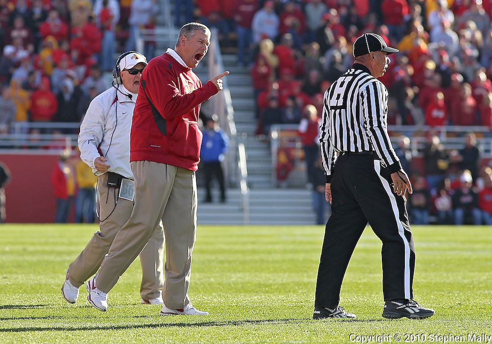 November 06 2010: Iowa State head coach Paul Rhoads yells at an official during the first half of the NCAA football game between the Nebraska Cornhuskers and the Iowa State Cyclones at Jack Trice Stadium in Ames, Iowa on Saturday November 6, 2010. Nebraska defeated Iowa State 31-30.