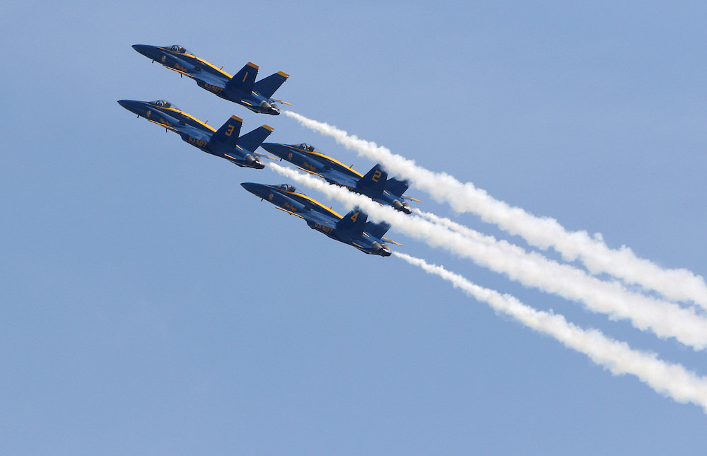 Mar 22, 2015: Melbourne, FL, USA; The United States Navy Blue Angels perform at the Melbourne Air & Space Show at Melbourne International Airport.