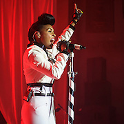 "WASHINGTON, DC - October 14th, 2013 - Grammy Award nominee Janelle Monae performs at the Lincoln Theater in Washington, D.C. Monae's performance included a cover of The Jackson 5's ""I Want You Back"" as well as her singles ""Tightrope"" and ""Q.U.E.E.N."" (Photo by Kyle Gustafson / For The Washington Post)"