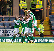 24th January 2018, Dens Park, Dundee, Scottish Premiership, Dundee versus Hibernian; Hibernian's John McGinn is congratulated after scoring for 1-0